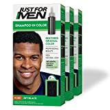 Just For Men Shampoo-In Color (Formerly Original Formula), Gray Hair Coloring for Men - Jet Black , H-60, Pack of 3 (Packaging May Vary)