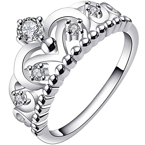 LWLH Princess Queen Crown Ring for Women 925 Sterling Silver Plated Cubic Zirconia CZ Tiara Promise Wedding Band Szie 11