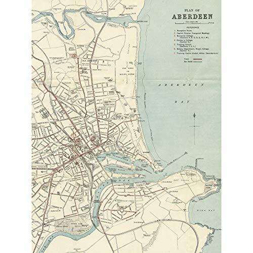 Map 1934 Aberdeen City Scotland Plan Chart Large Wall Art Poster Print...