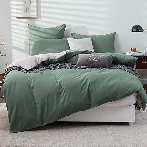 Omela Bettwäsche 135x200 Grün Taupe Kuschelig Weich Microfaser Unifarben Wende Bettwäsche Set 2 teilig - 135 x 200 cm Bettbezug + 80 x 80 cm Kissenbezug