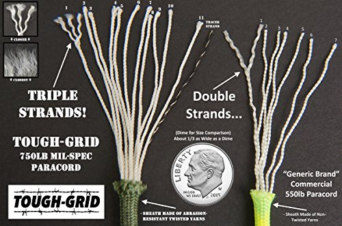 TOUGH-GRID 750lb Paracord/Parachute Cord - Genuine Mil Spec Type IV 750lb Paracord Used by The US Military (MIl-C-5040-H) - 100% Nylon - Made in The USA. 7