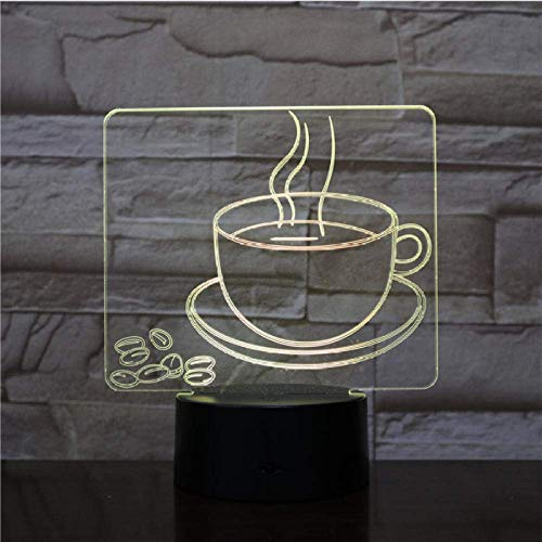 Coffee Cup NightLight LED 3D Visual Table Lamp 7 Color Changing Bedside Light Fixture Gifts Sleep Lighting Restaurant Decor
