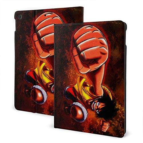 Anime Cartoon One Piece Case Fit iPad 7 th 10.2 Inch Case with Auto Sleep/Wake Ultra Slim Lightweight Stand Leather Case