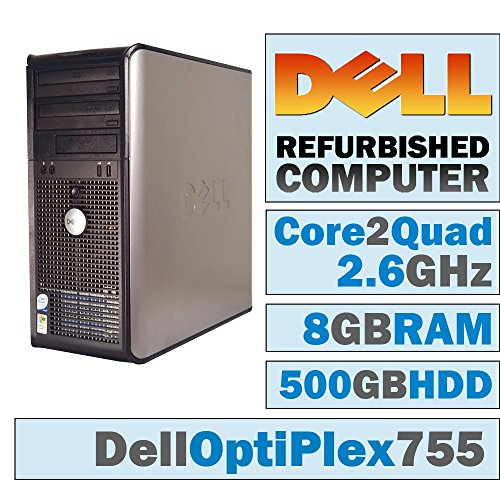 Dell OptiPlex 755 MT/Core 2 Quad Q6600 @ 2.4 GHz/8GB DDR2/500GB HDD/DVD-RW/Windows 7 PRO 64 BIT