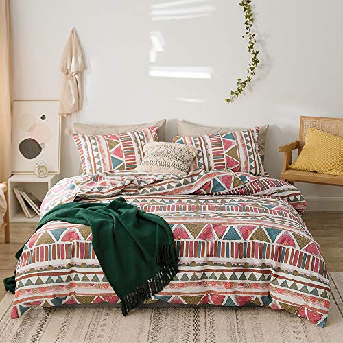 Bohemian 100% Cotton Soft Bedding Set Full 3 Pieces Duvet Cover Sets with Pillowcases Zipper Ties Best Bedding for Women Adults Bedroom Bed (Full/Queen, Cartoon European Pattern)