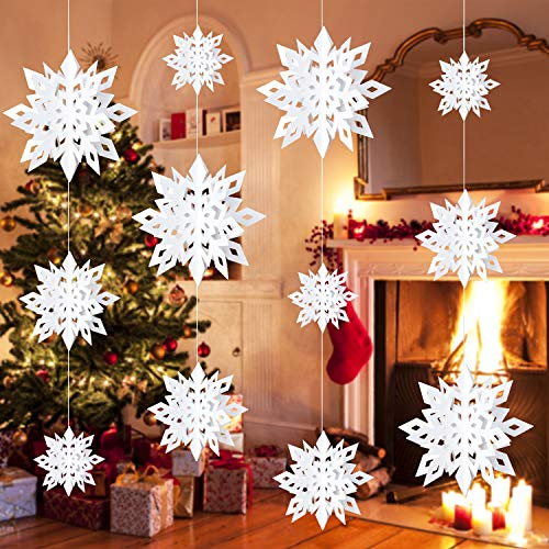 Christmas Hanging Snowflake Decorations, 12 PCS White 3D Glittery Paper Snowflakes for Window Xmas Trees Decor, Christmas New Year Party Winter Wonderland Decoration