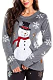Women's Sequin Snowman Christmas Sweater - Gray Snowflake Embellished Christmas Sweater: Large