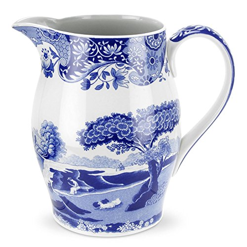 Spode Italien Bleu 1,7 L Liverpoo Litre Carafe en Porcelaine, Bleu et Blanc