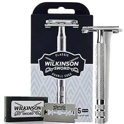 Wilkinson Sword Classic Double Edge Premium Men's Metal Safety Razor with x5 Refill Blades