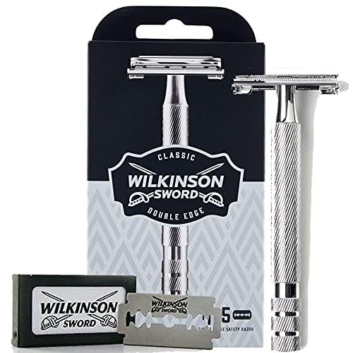 Wilkinson Sword Classic Premium - Máquina de Afeitar Vintage de Acero Cromado para Hombre + 5 Hojas de Afeitar de Doble Filo, Afeitado Clásico Manual, Gris