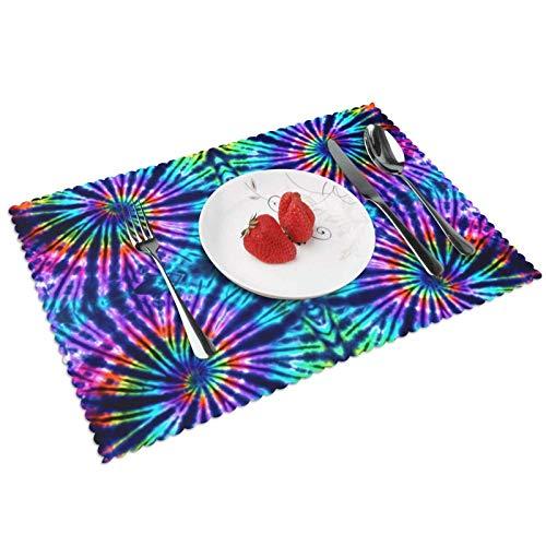 Tie Dye Perfection - Juego de 4 manteles individuales para mesa de...