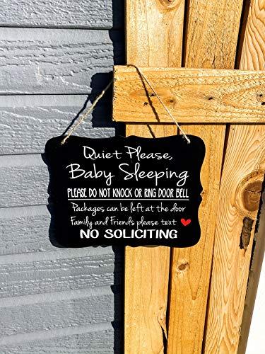 Em2342oe Rustig alsjeblieft baby slapen niet kloppen of ring deur bel pakketten kunnen worden achtergelaten aan de deur Voordeur outdoor teken Keuken huis boerderij decor kerst Thanksgiving ouders gift hout teken