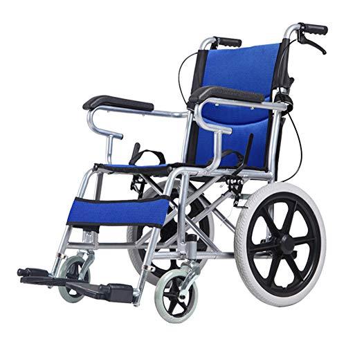 ACEDA Faltbar Rollstuhl 11Kg Leicht Rädern Transport Stuhl Mit Gepolsterten Armlehnen,Sitzbreite 48Cm,Einstellbares Pedal, Belastbarkeit 100Kg,Blau,Blue