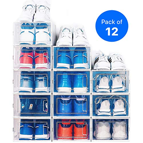 NEATLY Shoe Organizer - Stackable Shoe Racks for closets and entryway Shoe Storage cabinet - 12 COLLAPSIBLE Cube Storage bins for mens shoes, women shoes sneakers - Clear plastic shoe boxes with lids