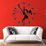 mmzki Etiqueta de la Pared Runner Sport Time Vinyl Sticker Sprinter Reloj Gimnasio Dormitorio Decoración 57 * 57cm