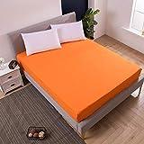 XLMHZP Funda de Cama con sábana Ajustable, Protector de colchón Impermeable tamaño Queen, Adecuado para bebés y Ancianos-Orange_220X200cm + 25cm (1pcs)