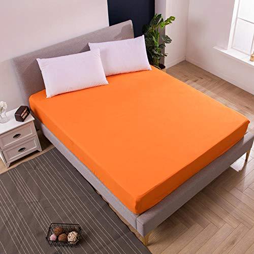 XGguo Protector de Colchón | Capa Superior de algodón Transpirable con Esquinas elásticas Paquete Completo de sábana cepillada Pure Color-Orange_152X190X25cm