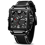 MEGIR Men's Analogue Army Military Chronograph Luminous Quartz Watch with Fashion Leather Strap for...