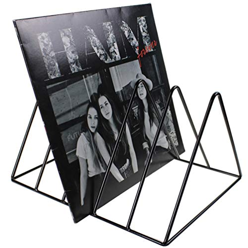 Record-Happy Vinyl Record Storage Holder Stand – Premium Vinyl Coated Metal Wire Rack Holds up to 50 Album Lp's – Simple, Functional and Contemporary Display Concept Design for 12 inch Records