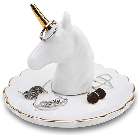 Set of 2 Ceramic Unicorn Trinkets Jewellery Storage Boxes Organiser Decoration