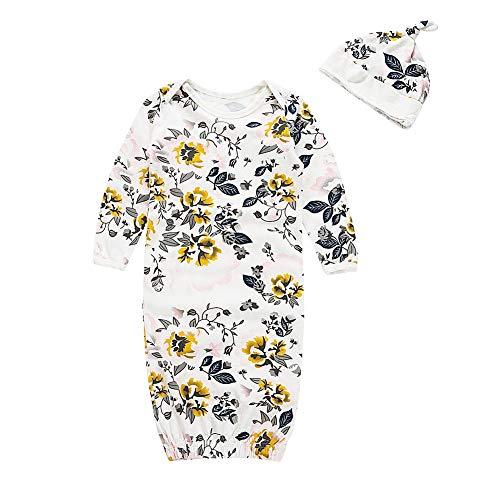 2 Stück Baby Erhalten Decke Blumendruck Baby Babyparty Wickel mit Hut für 0-3 Monate Neugeborenes Mädchen Junge