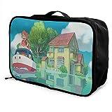 Bolsa de viaje con dibujos animados de fantasía para ponyo en el acantilado, plegable, impermeable, ligera, portátil, de alta capacidad, para llevar en bolsas Lage