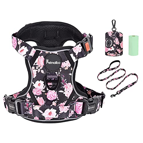 Petmolico No Pull Dog Harness Set, 2 Leash Attchment Easy Control Handle Reflective Vest Dog Harness...