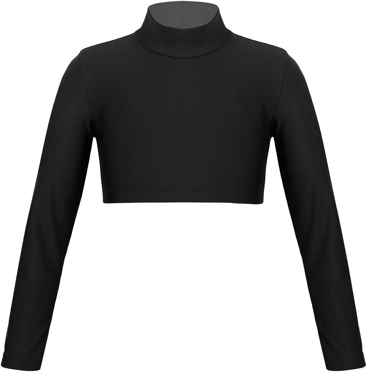 Yartina Ranking TOP7 Kids Girls T-Shirt Crop Regular store Long Tigh Tops Turtleneck Sleeve