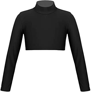 renvena Girls Long Sleeve Athletic Classic Sports Crop TopsT-Shirt Gym Workout Dance Performance
