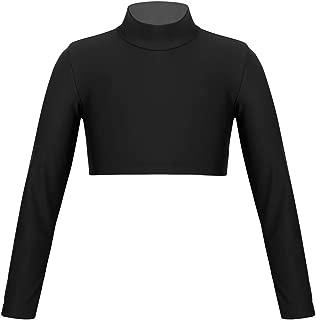 Yeahdor Big Girls' Mock Neck Long Sleeve Athletic Sports Gymnastics Crop Top Ballet Dance Fitness T-Shirt Sportswear