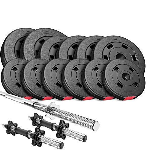 Hop-Sport Hantelset 38 kg, 1x Langhantelstange, 2 Kurzhanteln, Hantelscheiben: 2X 5 kg, 4X 2,5 kg, 6X 1,25 kg