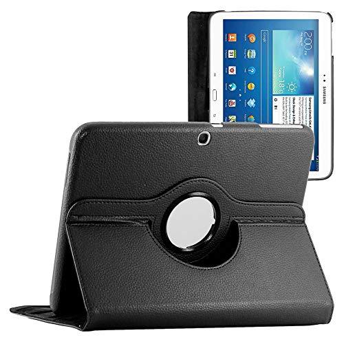 ebestStar - kompatibel mit Samsung Galaxy Tab 3 10.1 Hülle GT-P5210, 10 P5200 P5220 Rotierend Schutzhülle Etui, Schutz Hülle Ständer, Rotating Cover, Schwarz [Tab:243.1x176.1x8mm 10.1