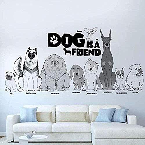 DIY Art Wall Sticker Dog is Friends Pug Zhou Jihua Dog Pet Shop Decal murale 30 * 90