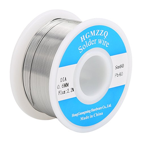 HGMZZQ 60/40 Tin Lead Solder Wire with Rosin for Electrical Soldering 0.023 inch(0.6mm-0.22lbs)