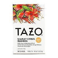 Tazo Scarlet Citrus Rooibos タゾ シトラス ルイボスティー カフェインフリー 20袋入り [海外直送品]