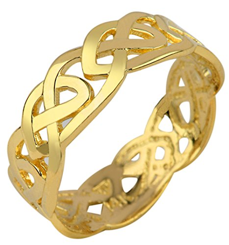 Solid Gold Celtic Wedding Band Trinity Knot Eternity Ring (10k) (11.5)