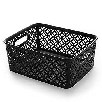BINO Woven Plastic Storage Basket Medium  Black