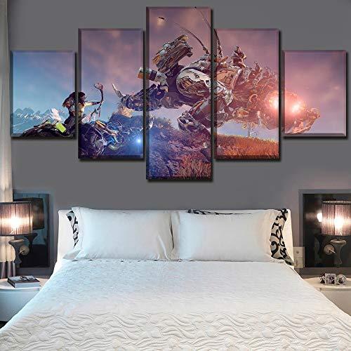 CANPIC Modern Canvas HD Impreso Poster Decoración para el hogar 5 Piezas Horizon Zero Dawn Pintura Wall Art Game Pictures Boy Room Modular, con Marco, 30X40 30X60 30X80cm