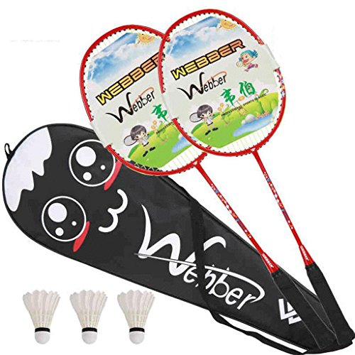 HLD Wszystkie rakiety do badmintona z włókna węglowego, dla początkujących, jednolity kolor, rakiety do badmintona, dla dzieci w wieku 3-12 lat (kolor: A)
