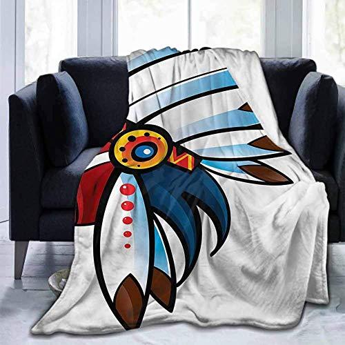 Leisure-Time Franela Decorativa Durable Sofá Cama Nativo Americano, Tribal Chef Cartoon, para Niños Adultos Bebé Niño Perro Gato