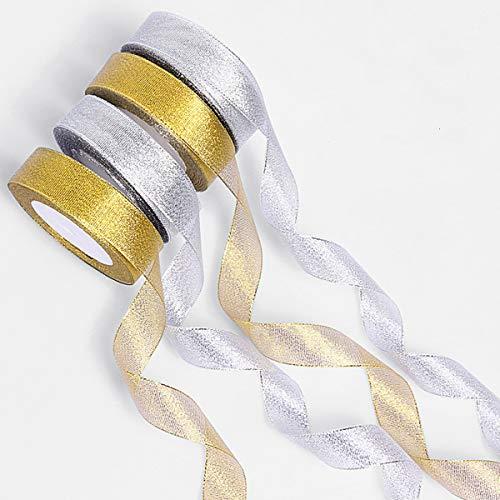 XIDAJIE 4 Packs 25 Yard Organza Ribbon Christmas Decorative Wired Ribbon Holiday Sheer Glitter Tulle Organza Ribbon for Christmas Tree Ornaments Gift Wrapping(Gold/Silver)