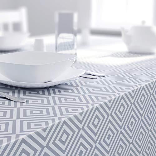 Dehaus® Graue Moderne, Geometrische PVC Tischdecke, Abwaschbar, Abwischbares Rechteckiges Wachstuch, Wachstuchtischdecke, Grau Tischdecken, Wasserabweisend Plastik Tischtuch 200 cm x 140 cm