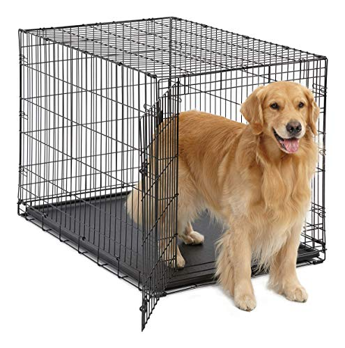 Large Dog Crate MidWest ICrate Folding Metal Dog Crate Divider Panel, Floor Protecting Feet Large Dog