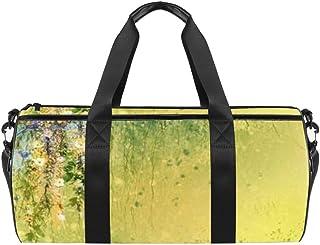 DJROWW Wasserfarben-Schultertasche mit weißen und gelben Blumen und Blättern, Segeltuch-Reisetasche, Reisetasche, für Fitnessstudio, Sport, Tanz, Reisen, Wochenender