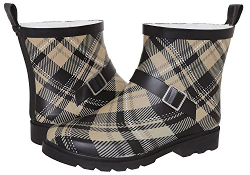 Capelli New York Ladies Plaid Printed Short Rain Boot Warm Sand 7