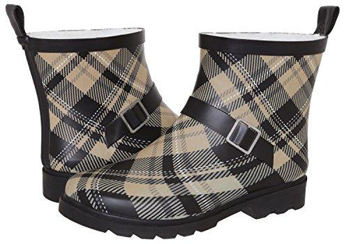 Capelli New York Ladies Plaid Printed Short Rain Boot Warm Sand 7