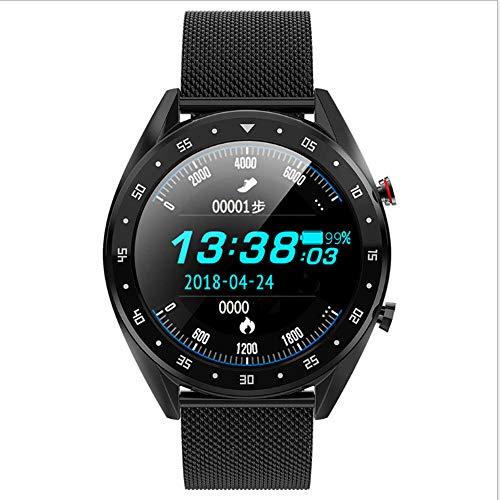 NIAY Smart Watch Sfigmomanometro EKG Bluetooth Chiamata Sincronizzazione Display IP68 Impermeabile Nero – Cinturino in Acciaio