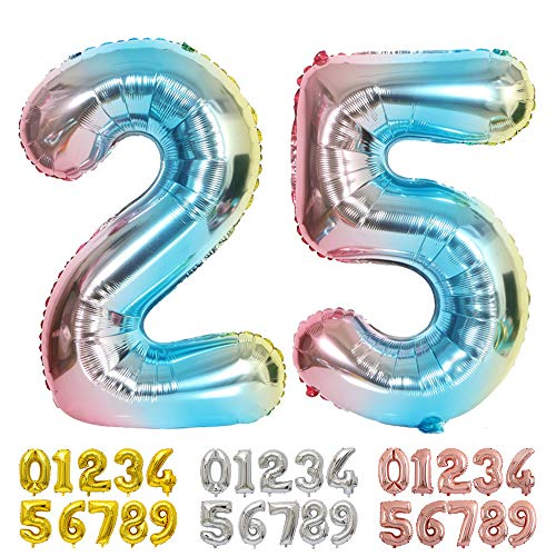 Ponmoo Foil Globo Número 25 52 Azul, Gigante Numeros 0 1 2...
