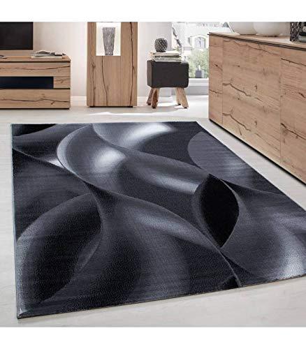 Carpettex Teppich Tapis de Salon Moderne Designe Motif des Vagues Courte Pile Noir Gris - 120x170 cm