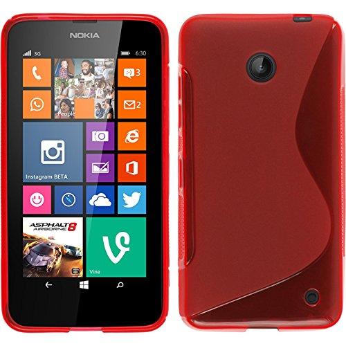 PhoneNatic Hülle für Nokia Lumia 630 Hülle Silikon rot S-Style Cover Lumia 630 Tasche + 2 Schutzfolien
